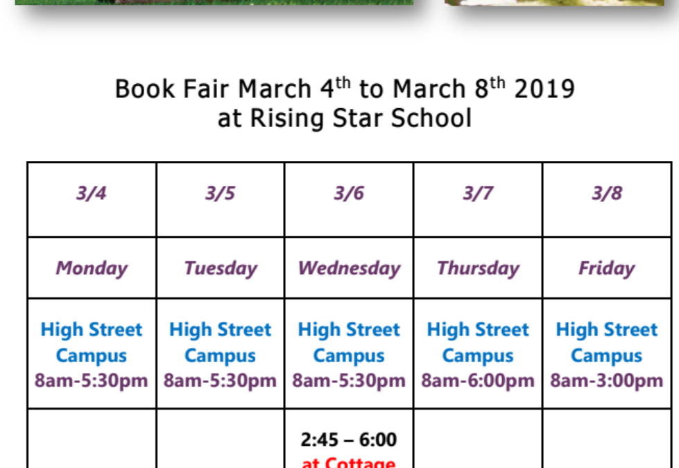 Book Fair March 4th to March 8th 2019 at Rising Star School